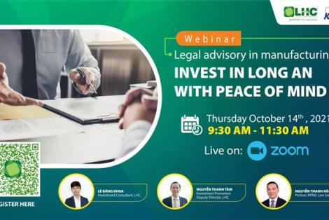 """Hội thảo trực tuyến """"Tư vấn pháp lý sản xuất: An tâm đầu tư tại Long An"""""""